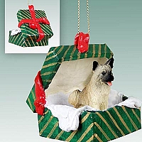 Akita Fawn Gift Box Green Ornament