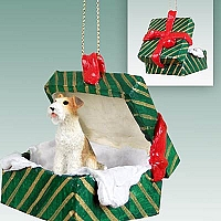 Wire Fox Terrier Red Gift Box Green Ornament