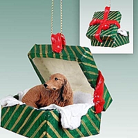 Dachshund Longhaired Red Gift Box Green Ornament