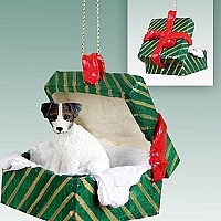 Jack Russell Terrier Brown & White w/Rough Coat Gift Box Green Ornament