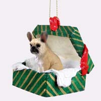 French Bulldog Fawn Gift Box Green Ornament