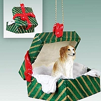 Borzoi Gift Box Green Ornament