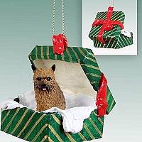 Norwich Terrier Gift Box Green Ornament