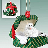 American Eskimo Miniature Gift Box Green Ornament