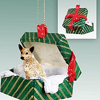 Australian Cattle Red Dog Gift Box Green Ornament