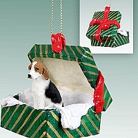 American Fox Hound Gift Box Green Ornament