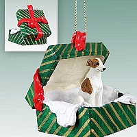 Whippet Brindle & White Gift Box Green Ornament