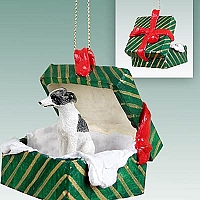 Whippet Gray & White Gift Box Green Ornament
