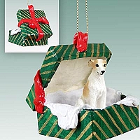 Whippet Tan & White Gift Box Green Ornament