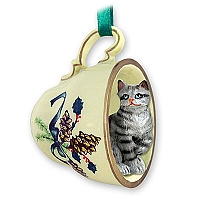 Silver Shorthaired Tabby Cat Tea Cup Green Holiday Ornament