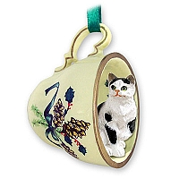 Black & White Shorthaired Tabby Cat Tea Cup Green Holiday Ornament