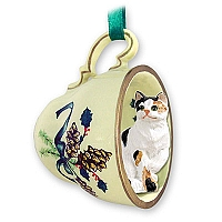 Calico Shorthaired Tea Cup Green Holiday Ornament