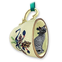Blue Cornish Rex Tea Cup Green Holiday Ornament