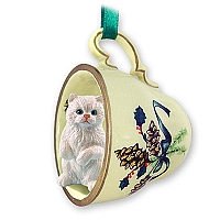 White Persian Tea Cup Green Holiday Ornament