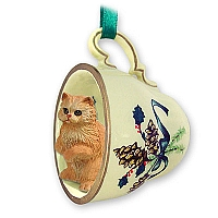 Red Persian Tea Cup Green Holiday Ornament
