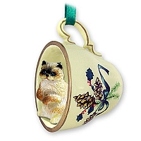 Ragdoll Tea Cup Green Holiday Ornament