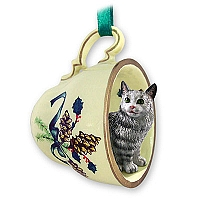 Silver Tabby Maine Coon Cat Tea Cup Green Holiday Ornament