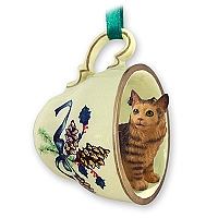 Brown Tabby Maine Coon Cat Tea Cup Green Holiday Ornament