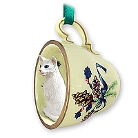 White Oriental Shorthaired Tea Cup Green Holiday Ornament