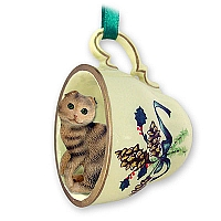 Brown Tabby Scottish Fold Tea Cup Green Holiday Ornament