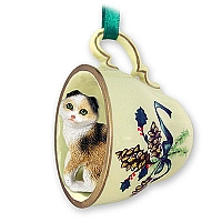 Tortoise & White Scottish Fold Tea Cup Green Holiday Ornament