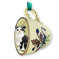 Black & White Manx Tea Cup Green Holiday Ornament