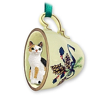 Tortoise & White Japanese Bobtail Tea Cup Green Holiday Ornament
