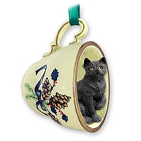 Black Shorthaired Tabby Cat Tea Cup Green Holiday Ornament