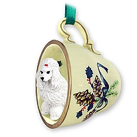 Poodle White Tea Cup Green Holiday Ornament