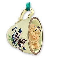 Poodle Apricot Tea Cup Green Holiday Ornament