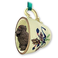 Poodle Chocolate Tea Cup Green Holiday Ornament