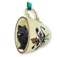 Pomeranian Black Tea Cup Green Holiday Ornament