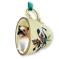Bulldog Tea Cup Green Holiday Ornament