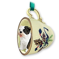Bulldog Brindle Tea Cup Green Holiday Ornament
