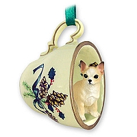 Chihuahua Tan & White Tea Cup Green Holiday Ornament