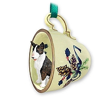 Bull Terrier Brindle Tea Cup Green Holiday Ornament
