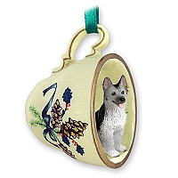 German Shepherd Black & Silver Tea Cup Green Holiday Ornament