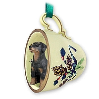 Doberman Pinscher Black w/Uncropped Ears Tea Cup Green Holiday Ornament
