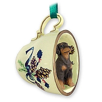 Doberman Pinscher Red w/Uncropped Ears Tea Cup Green Holiday Ornament