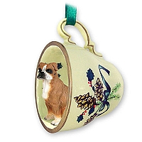 Boxer w/Uncropped Ears Tea Cup Green Holiday Ornament