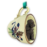 Poodle Chocolate w/Sport Cut Tea Cup Green Holiday Ornament