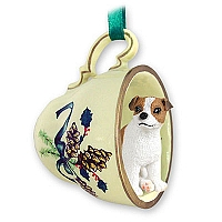 Jack Russell Terrier Brown & White w/Smooth Coat Tea Cup Green Holiday Ornament