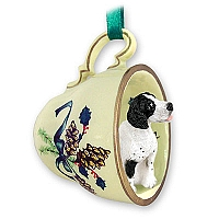Pointer Black & White Tea Cup Green Holiday Ornament
