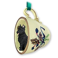 Bouvier des Flandres Tea Cup Green Holiday Ornament