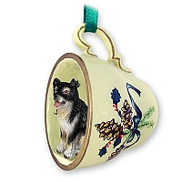 Alaskan Malamute Tea Cup Green Holiday Ornament