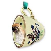 Lhasa Apso Brown Tea Cup Green Holiday Ornament