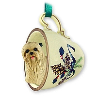 Lhasa Apso Blonde Tea Cup Green Holiday Ornament