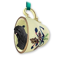 Lhasa Apso Black Tea Cup Green Holiday Ornament