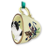 Japanese Chin Black & White Tea Cup Green Holiday Ornament
