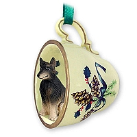 Belgian Tervuren Tea Cup Green Holiday Ornament